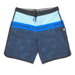 Hurley Mens Striped Swimming Trunks Board Shorts